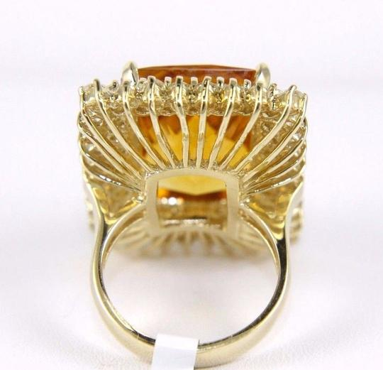 Other Huge Radiant Cut Citrine Lady's Ring w/Diamond Halo 14k YG 23.23Ct Image 7