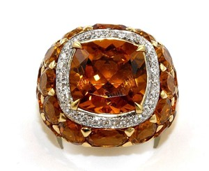 Other Huge Cushion Citrine & Diamond Cluster Solitaire Ring 18k YG 13.77Ct