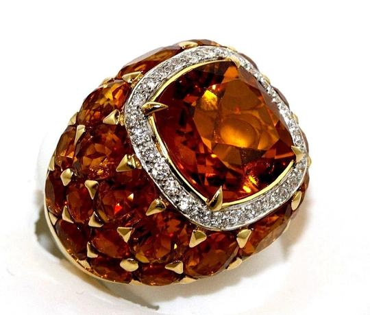 Other Huge Cushion Citrine & Diamond Cluster Solitaire Ring 18k YG 13.77Ct Image 1