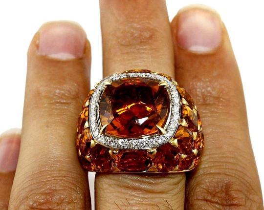 Other Huge Cushion Citrine & Diamond Cluster Solitaire Ring 18k YG 13.77Ct Image 2