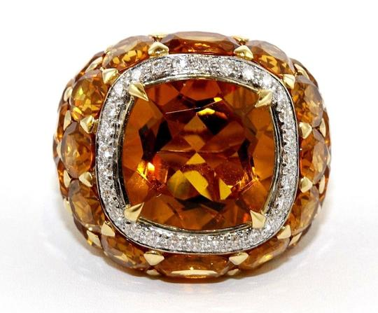 Other Huge Cushion Citrine & Diamond Cluster Solitaire Ring 18k YG 13.77Ct Image 4