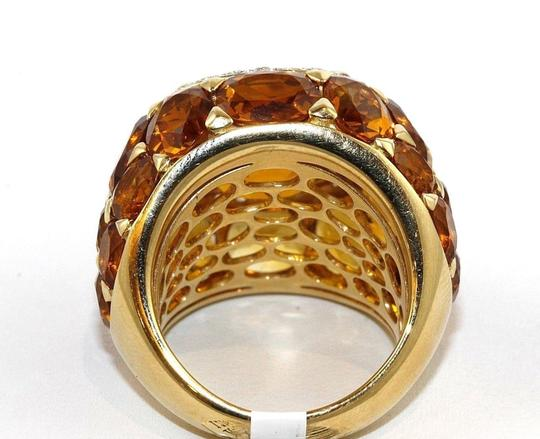 Other Huge Cushion Citrine & Diamond Cluster Solitaire Ring 18k YG 13.77Ct Image 6