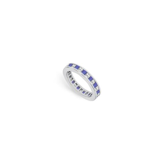 Preload https://img-static.tradesy.com/item/24276533/blue-cubic-zirconia-and-created-sapphire-eternity-band-14k-white-gold-ring-0-0-540-540.jpg