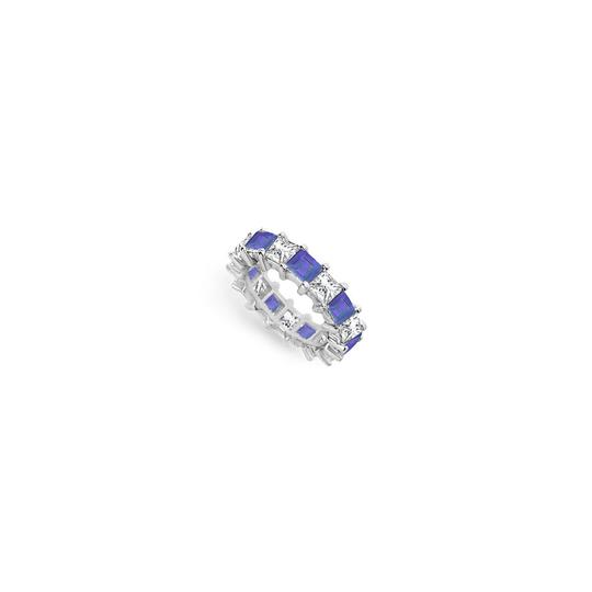 Preload https://img-static.tradesy.com/item/24276543/blue-cubic-zirconia-and-created-sapphire-eternity-band-14k-white-gold-ring-0-0-540-540.jpg