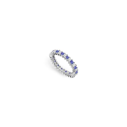 Preload https://img-static.tradesy.com/item/24276554/blue-cubic-zirconia-and-created-sapphire-eternity-band-14k-white-gold-ring-0-0-540-540.jpg
