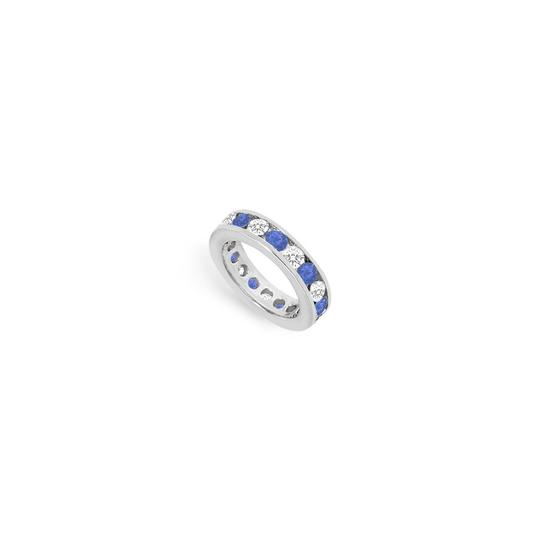 Preload https://img-static.tradesy.com/item/24276557/blue-cubic-zirconia-and-created-sapphire-eternity-band-14k-white-gold-ring-0-0-540-540.jpg