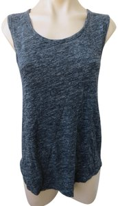 Margaret O'Leary Heather Knit Wool Linen Sleeveless Shirt Top Gray