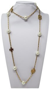 Tory Burch Gold-tone Tory Burch faux pearl logo station necklace