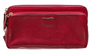 Coach Coach Red Leather Double Zip Wallet 486742