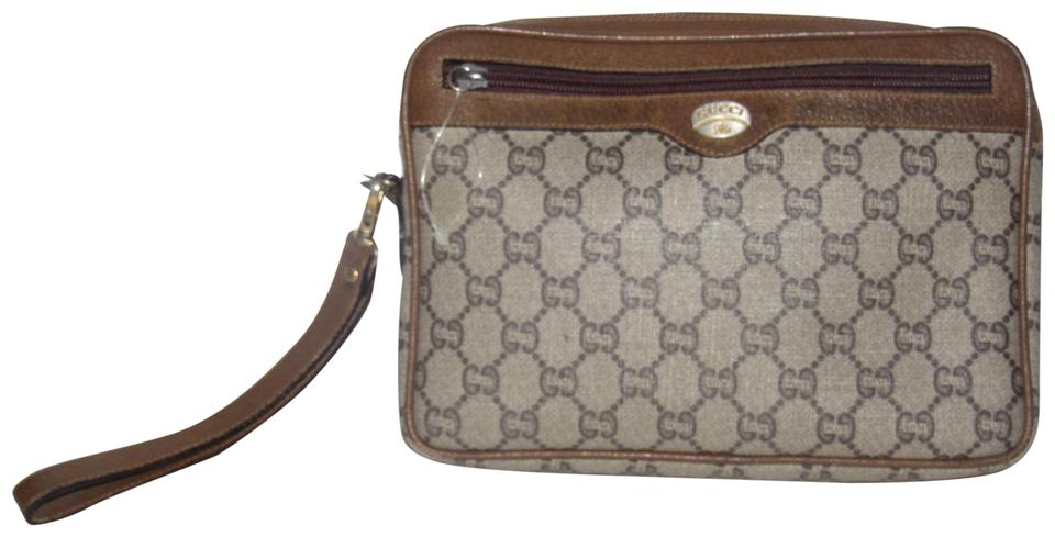 59cb4686fd93 Gucci Style Clutch/Cosmetic Exterior Pocket Mint Vintage Shades Of brown  coated canvas with Gucci ...