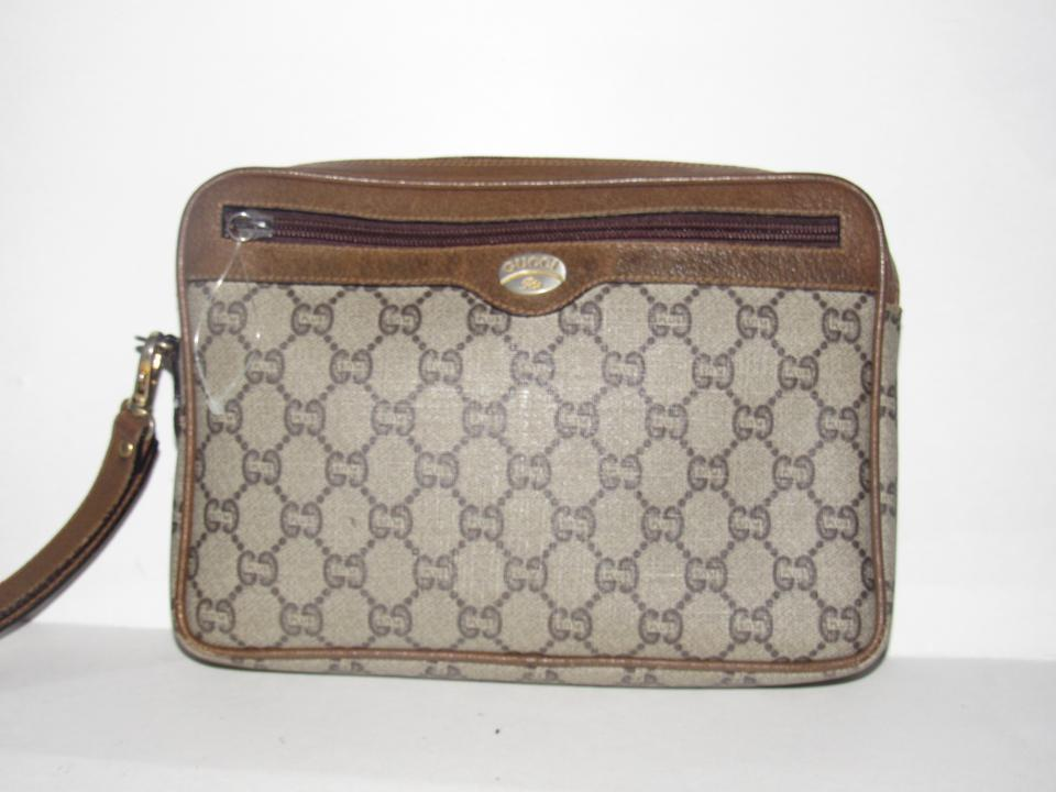 80466b35e74eb Gucci Webby Vintage Purses/Designer Purses Brown Coated Canvas with Plus  Design and Brown Leather Clutch