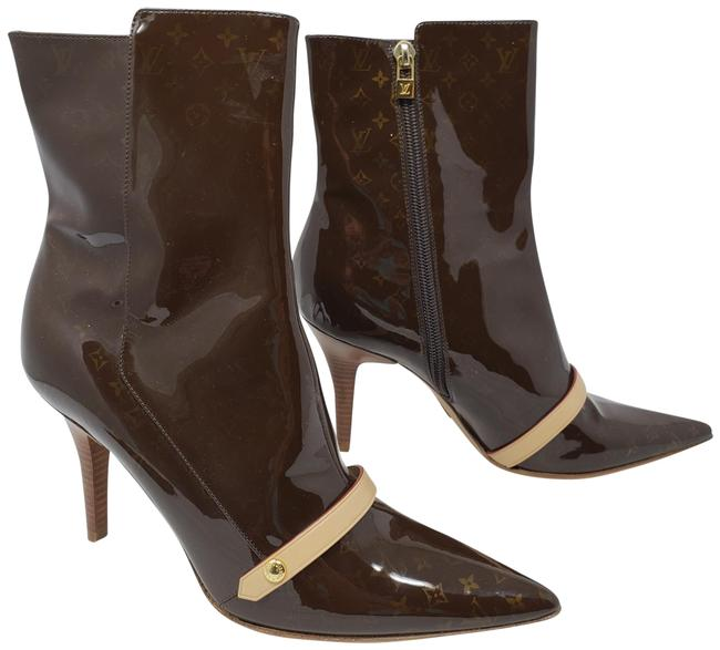 Item - Brown Patent Leather Lv Print Pointed-toe Ankle Boots/Booties Size EU 38.5 (Approx. US 8.5) Regular (M, B)