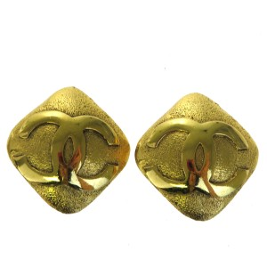Chanel CHANEL CC Logos Earrings Clip-On Gold-Tone France Accessory