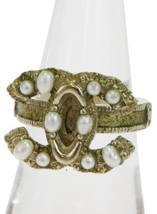 Chanel CHANEL CC Logos Ring Imitation Pearl Gold-tone Accessories France
