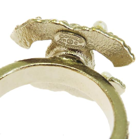 Chanel CHANEL CC Logos Ring Imitation Pearl Gold-tone Accessories France Image 2