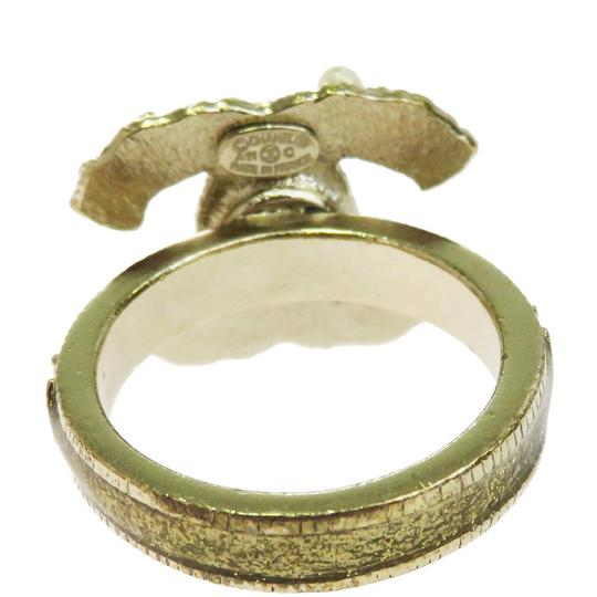 Chanel CHANEL CC Logos Ring Imitation Pearl Gold-tone Accessories France Image 3