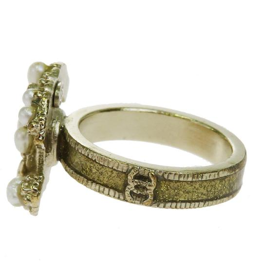Chanel CHANEL CC Logos Ring Imitation Pearl Gold-tone Accessories France Image 4