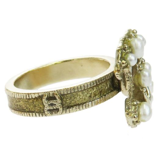 Chanel CHANEL CC Logos Ring Imitation Pearl Gold-tone Accessories France Image 6