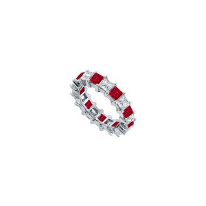 DesignerByVeronica Cubic Zirconia and Created Ruby Eternity Band 14K White Gold 3.00 CT T