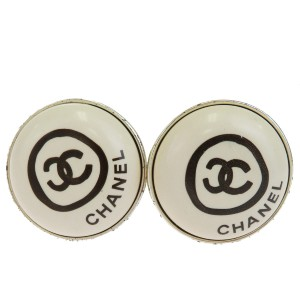 Chanel CHANEL CC Button Earrings Clip-On Silver Plated France Accessory