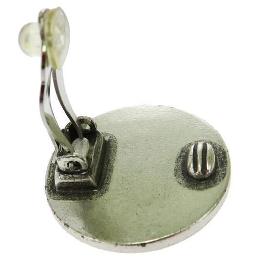 Chanel CHANEL CC Button Earrings Clip-On Silver Plated France Accessory Image 6