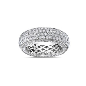 OMI Jewelry Men's 14K White Gold Eternity Band with 4.90 CT Diamonds