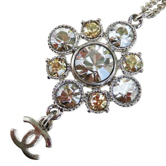 Chanel CHANEL Chain Rhinestone Pendant Necklace Silver Plated Accessory Image 5