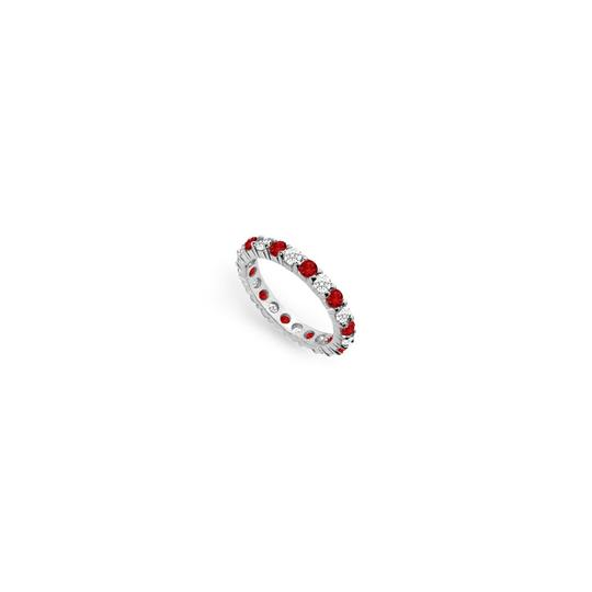 Preload https://img-static.tradesy.com/item/24277195/red-cubic-zirconia-and-created-ruby-eternity-band-14k-white-gold-500-ct-t-ring-0-0-540-540.jpg