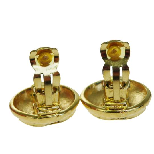 Chanel CHANEL CC Button Earrings Clip-On Gold-Tone France Accessory Image 2