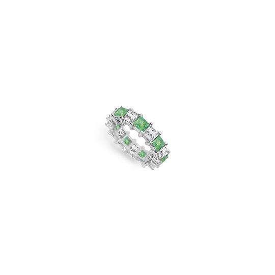 Preload https://img-static.tradesy.com/item/24277257/green-cubic-zirconia-and-created-emerald-eternity-band-14k-white-gold-500-c-ring-0-0-540-540.jpg
