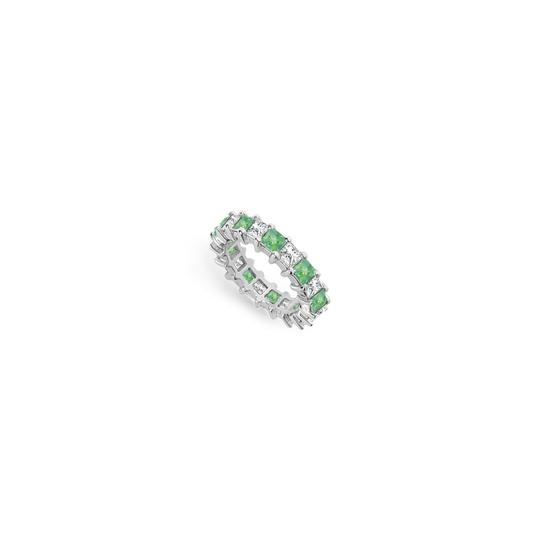Preload https://img-static.tradesy.com/item/24277259/green-cubic-zirconia-and-created-emerald-eternity-band-14k-white-gold-400-c-ring-0-0-540-540.jpg