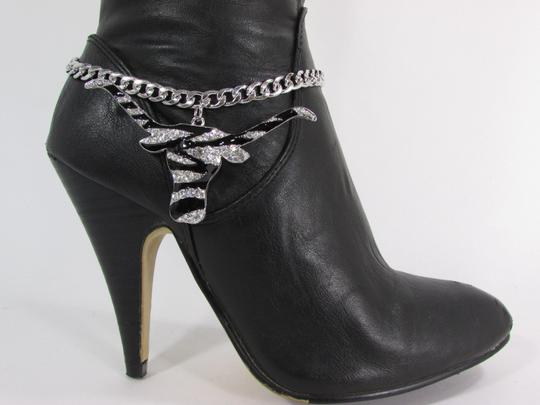 Alwaystyle4you Women Silver Boot Chain Bracelet Bull Texas Cow Shoe Bling Anklet Char Image 2