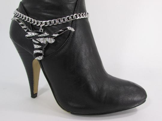 Alwaystyle4you Women Silver Boot Chain Bracelet Bull Texas Cow Shoe Bling Anklet Char Image 4