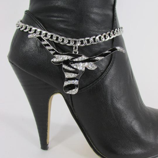 Alwaystyle4you Women Silver Boot Chain Bracelet Bull Texas Cow Shoe Bling Anklet Char Image 7