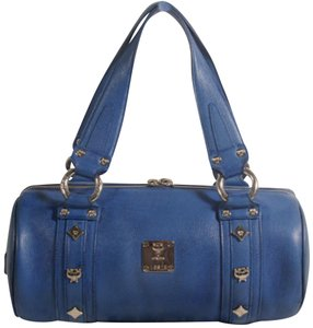 MCM Papillon Cyllinder Boston Barrel Round Satchel in Blue