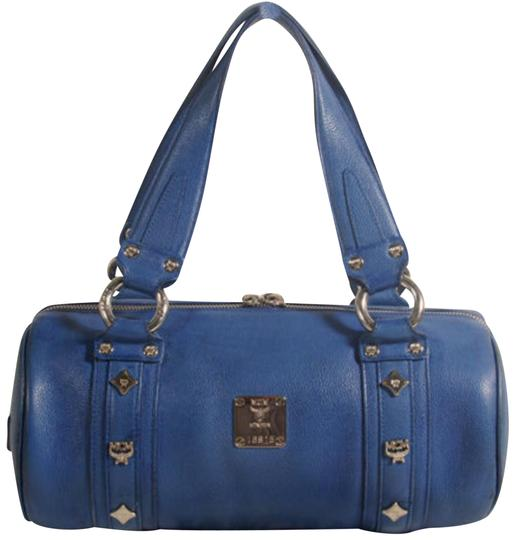 Preload https://img-static.tradesy.com/item/24277306/mcm-studded-barrel-868502-blue-leather-satchel-0-1-540-540.jpg