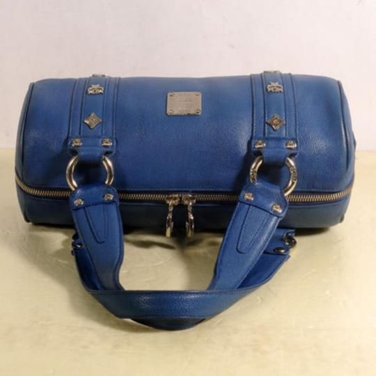 MCM Papillon Cyllinder Boston Barrel Round Satchel in Blue Image 1