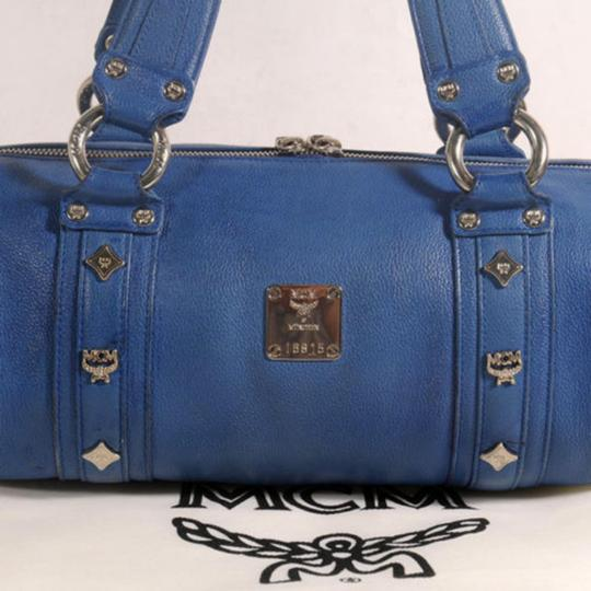 MCM Papillon Cyllinder Boston Barrel Round Satchel in Blue Image 4