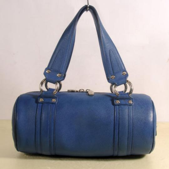 MCM Papillon Cyllinder Boston Barrel Round Satchel in Blue Image 5