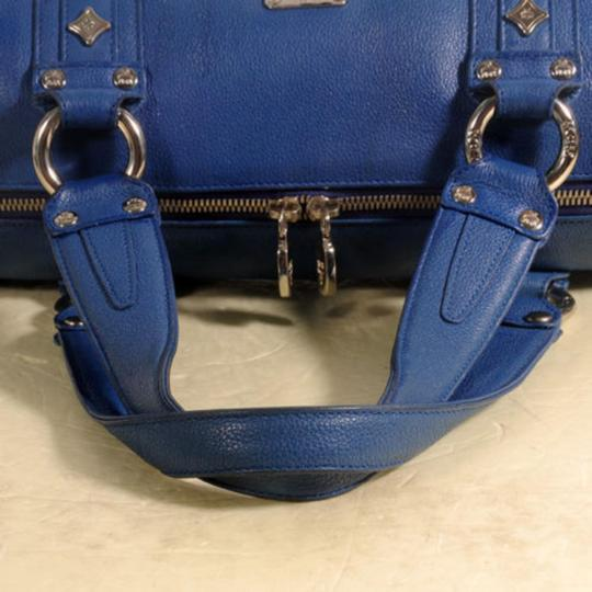 MCM Papillon Cyllinder Boston Barrel Round Satchel in Blue Image 6