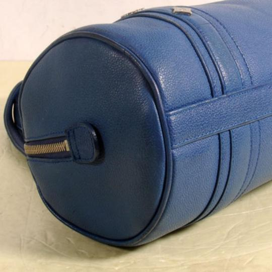 MCM Papillon Cyllinder Boston Barrel Round Satchel in Blue Image 7