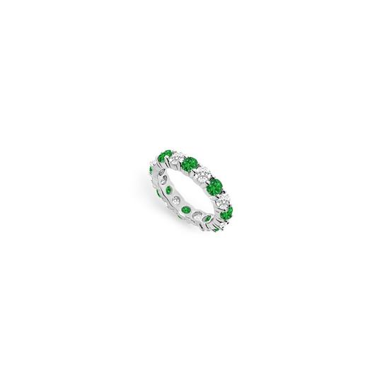 DesignerByVeronica Cubic Zirconia and Created Emerald Eternity Band 14K White Gold 3.00 C Image 0