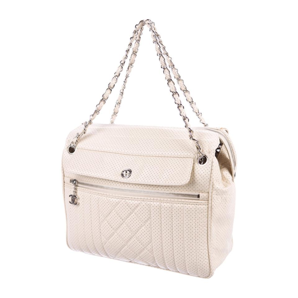 a1a164ad2fab Chanel Perforated 50's Bowler Cream Leather Shoulder Bag - Tradesy