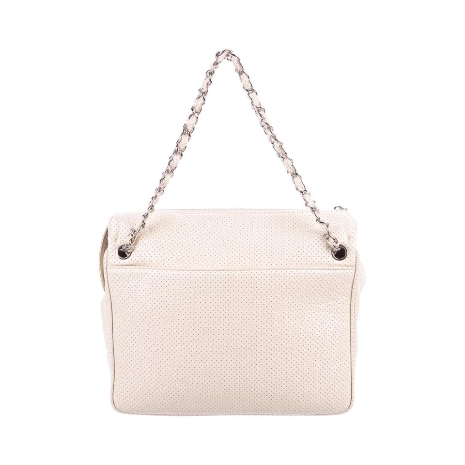 81365eb4c9a1 Chanel Perforated 50's Bowler Cream Leather Shoulder Bag - Tradesy
