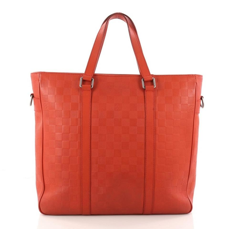 8d0f1500990a Louis Vuitton Tadao Handbag Damier Infini Pm Red Leather Tote - Tradesy