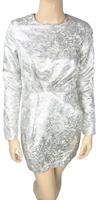 Preload https://img-static.tradesy.com/item/24277519/line-and-dot-silver-white-metallic-shimmering-long-sleeve-ruched-short-cocktail-dress-size-6-s-0-3-650-650.jpg