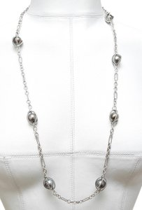 David Yurman DAVID YURMAN Necklace Sterling Silver TAHITIAN PEARL Figaro Chain 33""