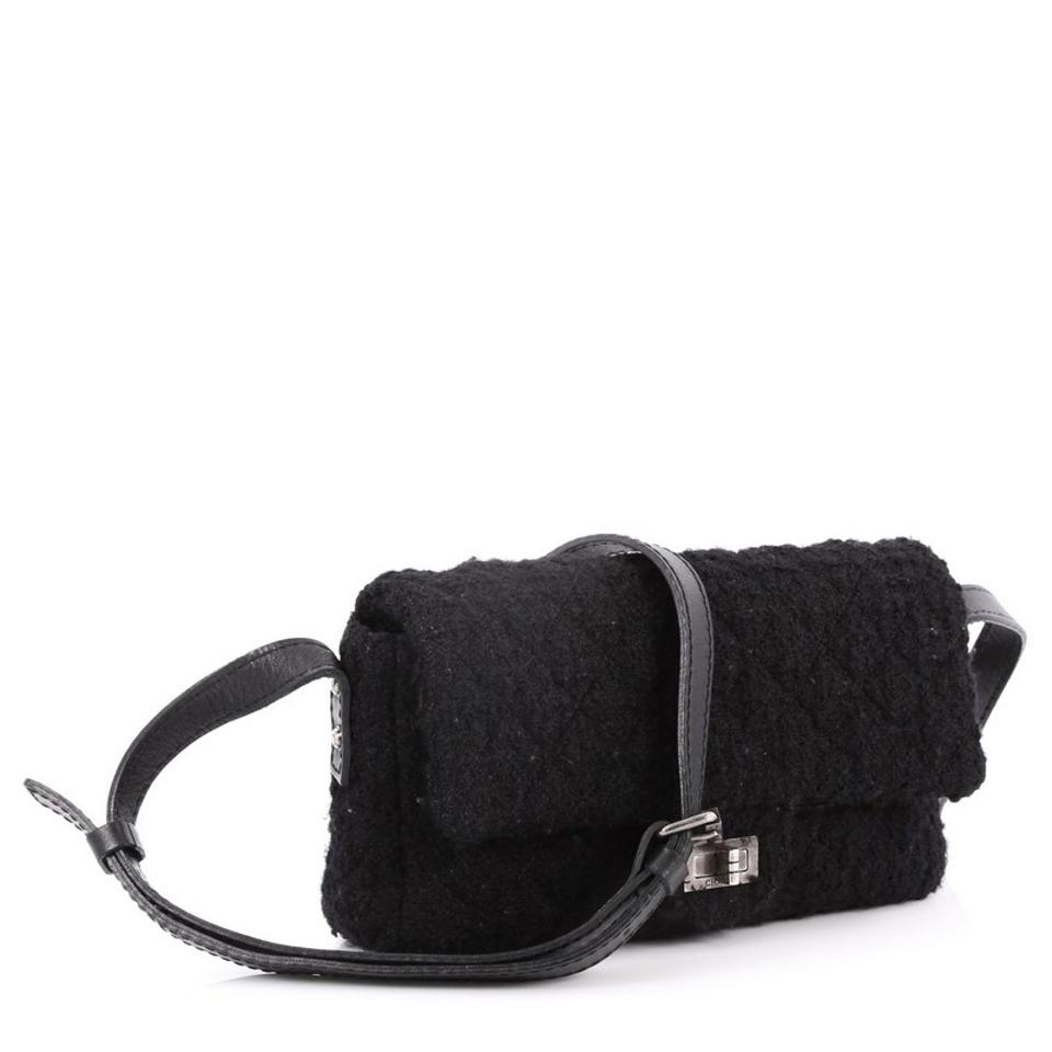 e5c1d306e8f Chanel Classic Flap 2.55 Reissue Messenger Easy Quilted Small Black ...