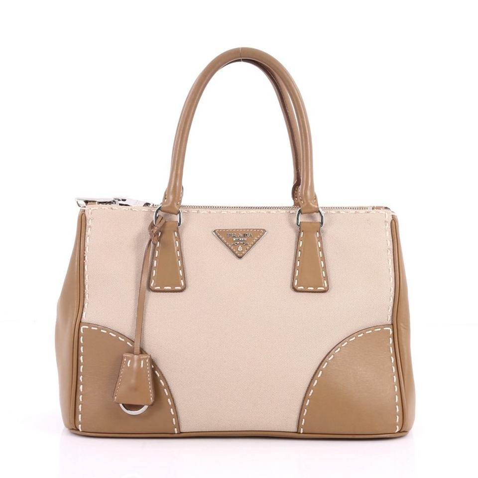 f3199720a8ff80 Prada Double Zip Convertible Stitched City Calfskin Canvas Small Brown and  Beige Leather Tote
