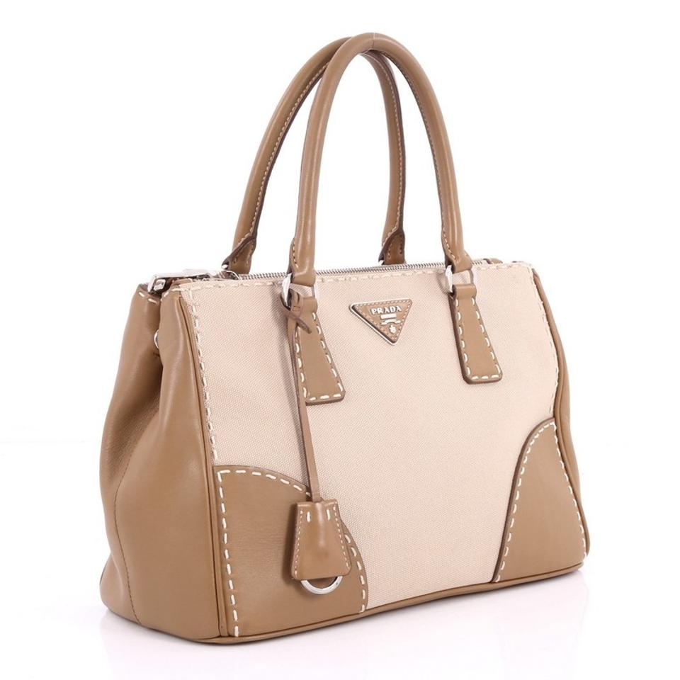 158bc6bc11c5 Prada Double Zip Convertible Stitched City Calfskin Canvas Small Brown and Beige  Leather Tote - Tradesy